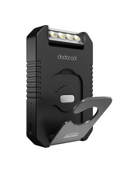 dodocool Portable 4200 mAh Solar Charger Power Bank External Battery Pack with 4 LED Flashlight Black