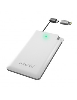 dodocool MFi Certified Ultra Thin 2500mAh Portable Charger Backup External Battery Pack Power Bank with Built-in Micro USB Cable and Lightning Adapter for iPhone 7 Plus/7 and More Smartphones White