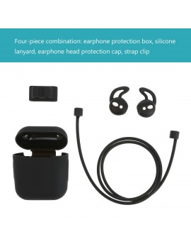 4in1 Silicone Protective Cover Compatible with Apple AirPods Charging Case Watch Band Holder Anti-lost Straps Earphone Protector Accessories