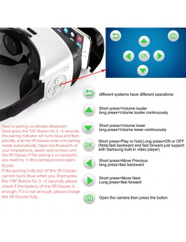 Arealer VR SPACE Virtual Reality Glasses VR Headset 3D Movie VR Games Supports BT 3.0 Self-timer Siri Universal for Android iOS Smart Phones within 3.5 to 5.5 Inches
