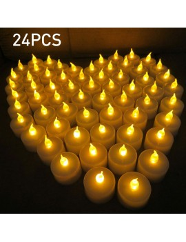 24pcs Simulation Flameless Tea Candles LED Candle Lights for Wedding Anniversary