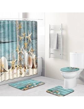 4pcs/set Summer Beach Conch Starfish Printed Pattern Bathroom Decoration Water-resistant Shower Curtain Pedestal Rug Lid Toilet Cover Mat Non-slip Bath Mat Set