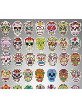 50 Pcs Magic Color Scary Skull Sticker