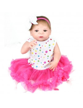 22inch 55cm Reborn Baby Doll Girl Full Silicone Doll Baby Bath Toy With Clothes Lifelike Cute Gifts Toy