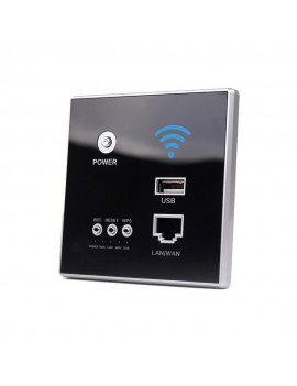 300Mbps Power AP Relay Intelligent Wireless WIFI Repeater Extender Wall Embedded 2.4GHz Router Panel with USB Socket
