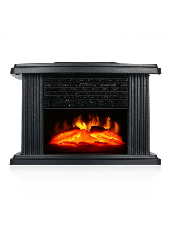 1000W Desktop Mini Electric Fireplace Heater Electric Heater with Log Flame Effect Warm Air Heater