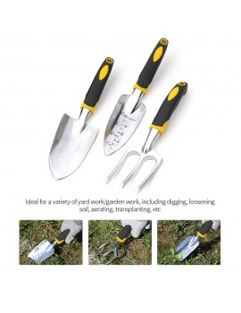 3 Pieces Heavy Duty Cast-Aluminum Heads Gardening Kit Garden Tool Set