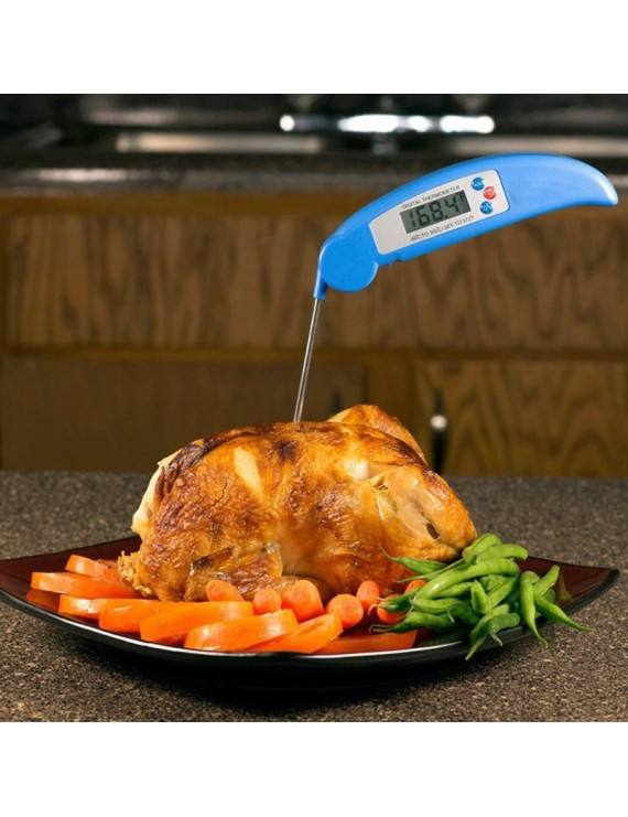 -50℃ - 300℃ Instant Read Folding Cooking Thermometer for Grill BBQ Breakfast Milk Soup Temperature Measurement Kitchen Tool Restaurant Blue