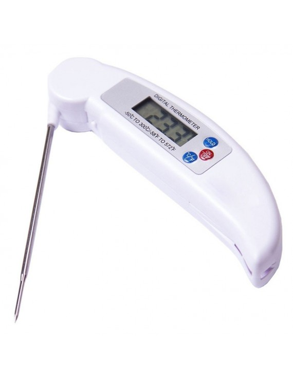 -50℃ - 300℃ LCD Digital Instant Read Folding Cooking Thermometer for Grill BBQ Breakfast Milk Soup Temperature Measurement Kitchen Tool Restaurant White