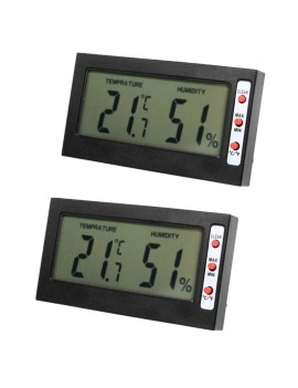 2pcs LCD Display Digital Thermometer Hygrometer with Memory Function Black