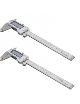 2pcs 150mm 6 inch LCD Digital Stainless Electronic Vernier Caliper Silver