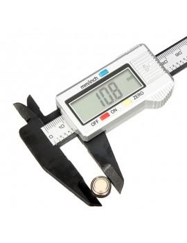 "150mm 6"" LCD Digital Carbon Fiber Vernier Caliper Micrometer Silver"