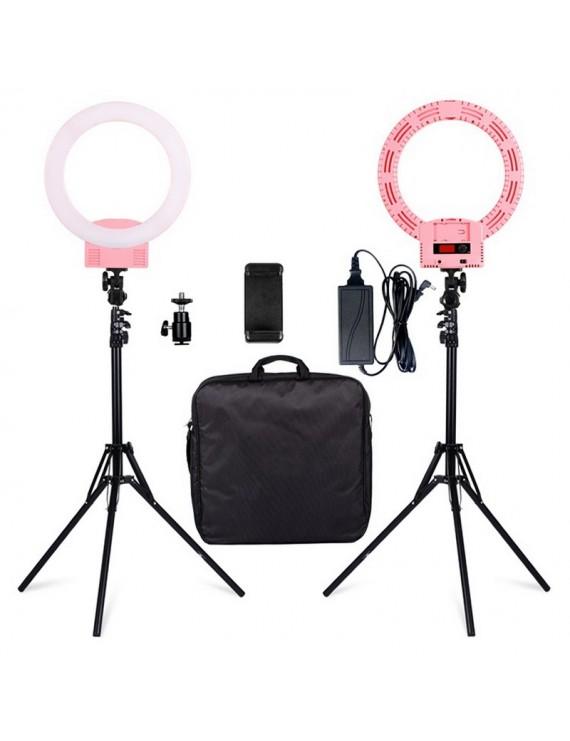 "12"" LED Ring Lights and 2m Light Stands US Standard Pink"