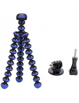 "6.5"" Mini Octopus Tripod + Adapter + Long Screw Set for Camera/Cellphone/GoPro Hero Series/SJ5000/SJ4000 Black & Blue"